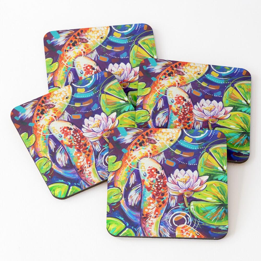 3 Koi Fish Coasters (Set of 4)