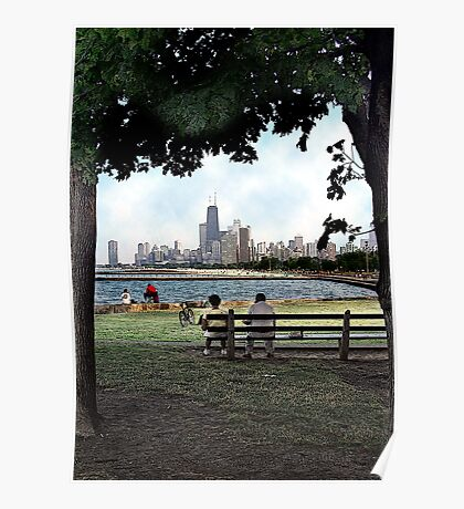 couple on a bench, chicago  Poster
