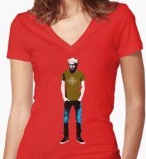 Hipster Bin Laden Women's Fitted V-Neck T-Shirt
