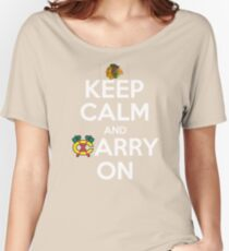 Keep Calm Carry On Blackhawks Women's Relaxed Fit T-Shirt