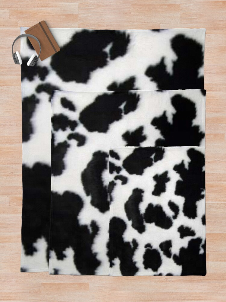 Alternate view of Cow Hide spotted fur Farm Animal Pattern Black White Throw Blanket