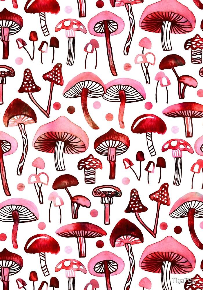 Pink Mushrooms  by TigaTiga