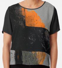 Minimal Orange on Black Chiffon Top
