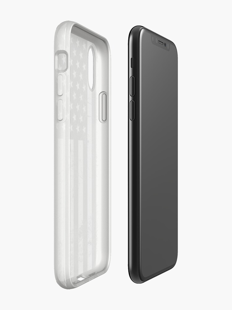 Vista alternativa de Funda y vinilo para iPhone Bandera americana blanco y negro