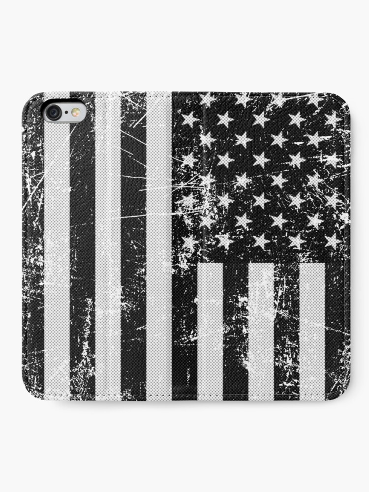 Vista alternativa de Fundas tarjetero para iPhone Bandera americana blanco y negro