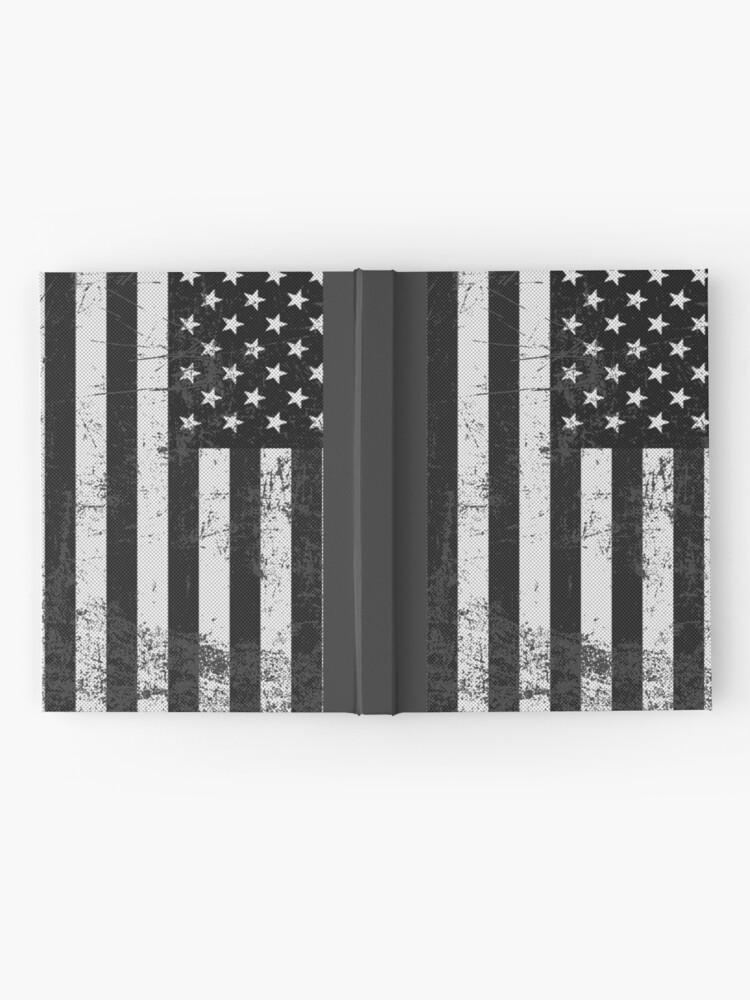 Vista alternativa de Cuaderno de tapa dura Bandera americana blanco y negro