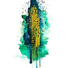 Abstract watercolour: turquoise, green, blue, gold, and black by Sybille Sterk