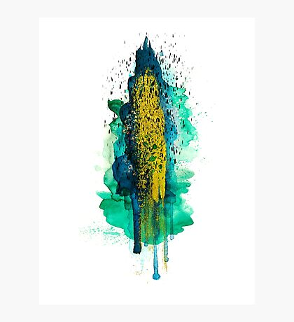 Abstract watercolour: turquoise, green, blue, gold, and black Photographic Print