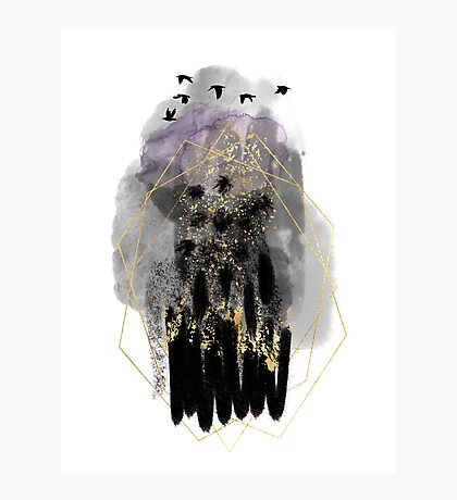 Abstract watercolour: lilac, gold, and black Photographic Print