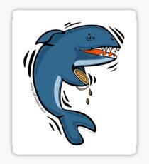 Overly Caffeinated Shark Glossy Sticker