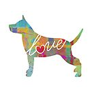 Staffordshire Terrier Love - A Bright and Colorful Watercolor Style Gift by traciwithani