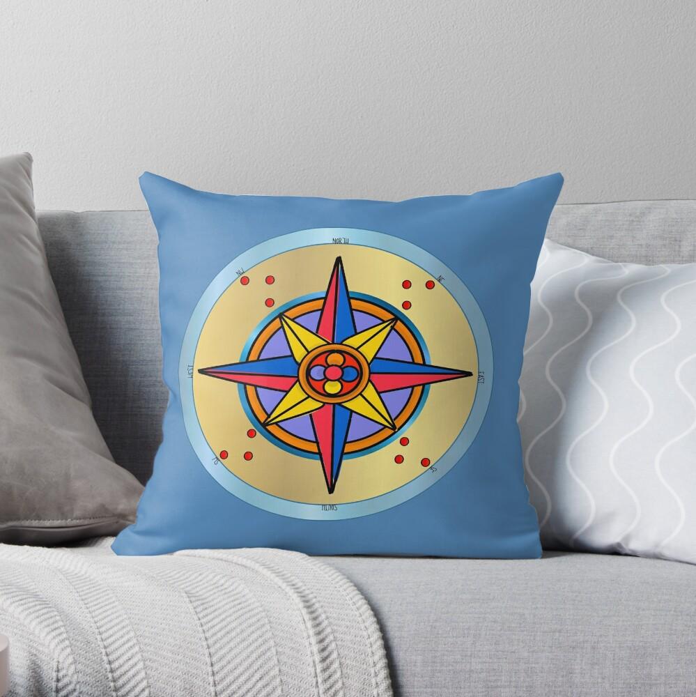 Ornate Compass Rose Throw Pillow