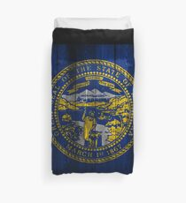 Nebraska State Flag (wood look) Duvet Cover