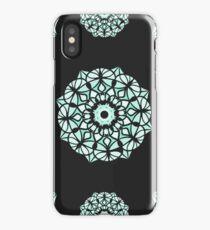 Seamless pattern / Islam, Arabic, Indian, ottoman motifs /mandala / white color on black background iPhone Case