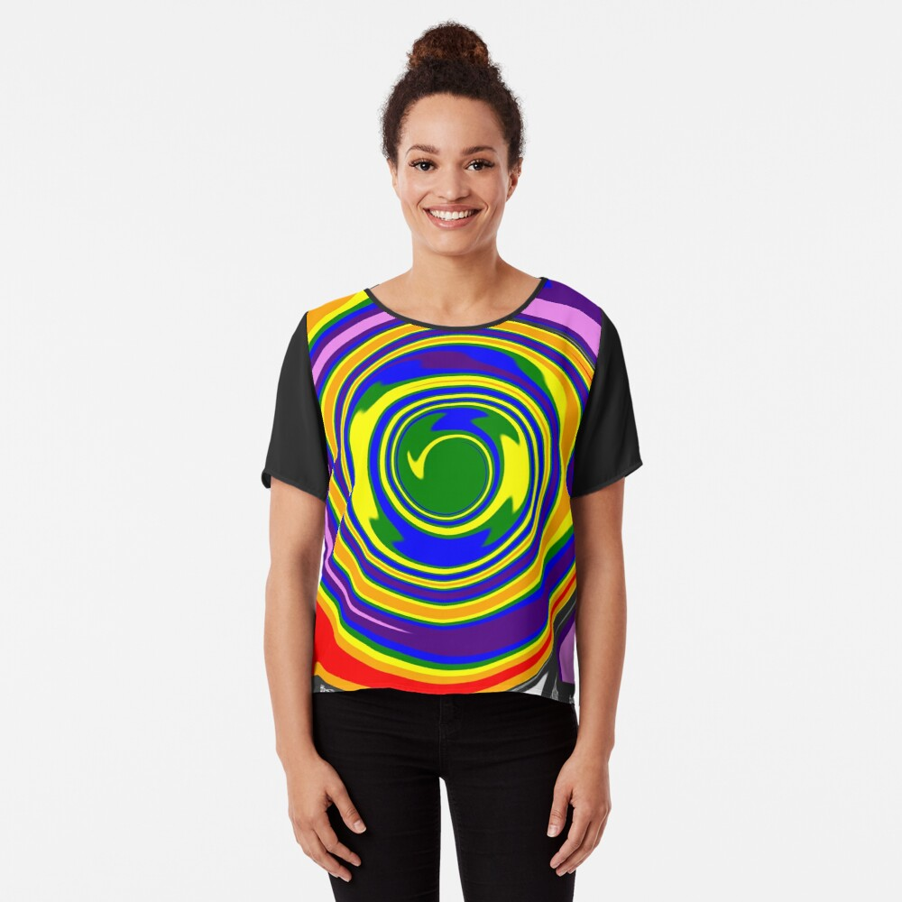 #Rainbow, #creativity, #abstract, #vortex, bright, design, art, nature, psychedelic  Chiffon Top