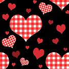 Red Gingham Hearts by NonDecafArt