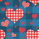 Red Gingham Hearts Blue Checkers by NonDecafArt