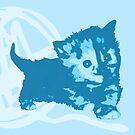 Hier Kitty, Kitty - Pastellblau | Kätzchen, Katze, Garn, Niedlich, Süß, Adorbs, Liebenswert, Neon, Hit, Grün, Gras, Hell, Limette, Blass, Pastell, Chartreuse von CanisPicta