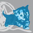 Hier Kitty, Kitty - Blau / Grau | Kätzchen, Katze, Garn, Niedlich, Süß, Adorbs, Liebenswert, Neon, Hit, Grün, Gras, Hell, Limette, Blass, Pastell, Chartreuse von CanisPicta