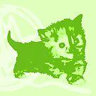 Hier Kitty, Kitty - Pastellgrün | Kätzchen, Katze, Garn, Niedlich, Süß, Adorbs, Liebenswert, Neon, Hit, Grün, Gras, Hell, Limette, Hell, Pastell, Chartreuse von CanisPicta