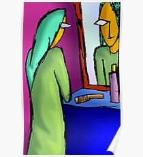 Beauty of woman reflected in mirror Poster