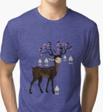 The Happy Springtime Deer! Tri-blend T-Shirt