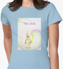 Unicorn says you suck Womens Fitted T-Shirt