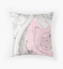 Suminagashi Love, Gray and Pink Throw Pillow