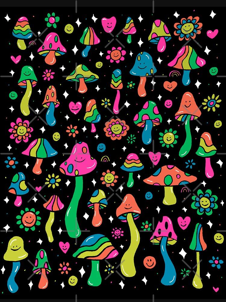 Rainbow Mushrooms by doodlebymeg