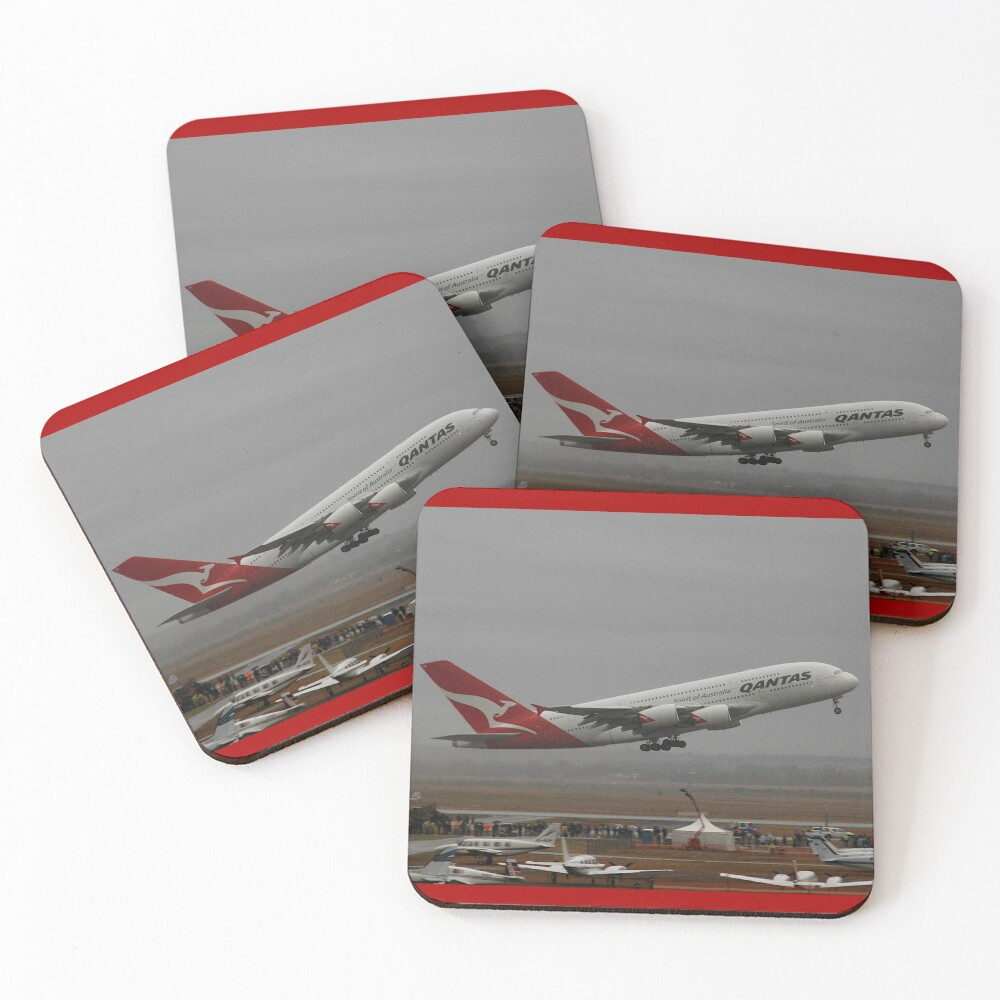 QANTAS Airbus A380 @ Avalon Airshow, Australia 2009 Coasters (Set of 4)