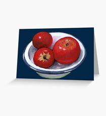Red Apples in Old Enamel Bowl, Oil Pastel Greeting Card
