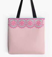 aqua + pink lace Tote Bag