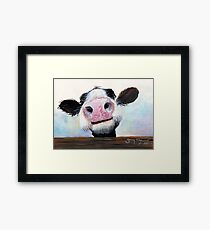 NOSEY COW 'HEY! HOW'S IT GOIN'?' BY SHIRLEY MACARTHUR Framed Print