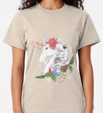 Christmas Unicorn Snow Background Classic T-Shirt