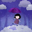 Rain on my umbrella by Hannah Chapman