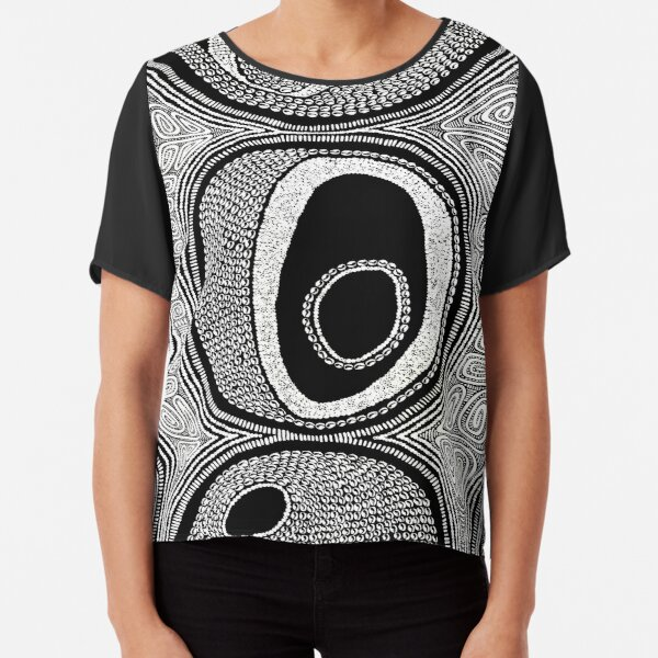 #546.1 - NATHALIE LE RICHE - ART and GIFTS - ABSTRACT BNW DOTS TRIBAL SHELLS - Daily Devotion Chiffon Top