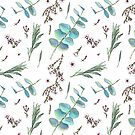 Waxflower, silver-leaf stringybark and lavender leaves pattern by stasia-ch