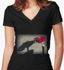 Gerbera Flower Women's Fitted V-Neck T-Shirt