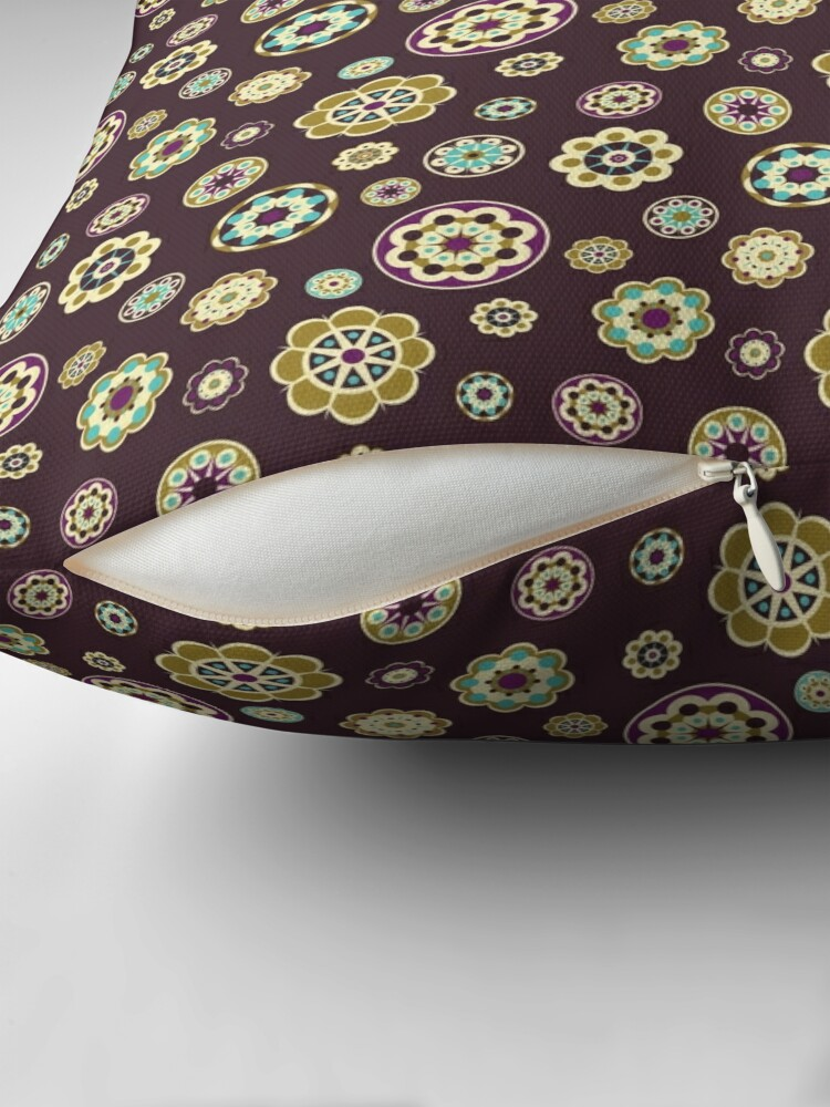 Alternate view of Fabric with floral pattern. Throw Pillow