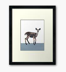 Deer on Slate Blue Framed Print