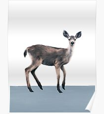 Deer on Slate Blue Poster