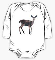 Deer on Slate Blue Long Sleeve Baby One-Piece