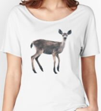 Deer on Slate Blue Relaxed Fit T-Shirt
