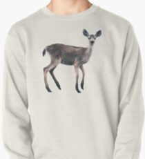 Deer on Slate Blue Pullover Sweatshirt