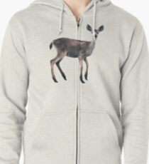 Deer on Slate Blue Zipped Hoodie