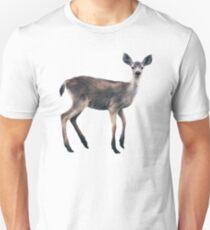 Deer on Slate Blue Slim Fit T-Shirt
