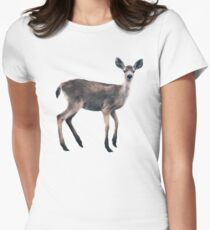 Deer on Slate Blue Fitted T-Shirt