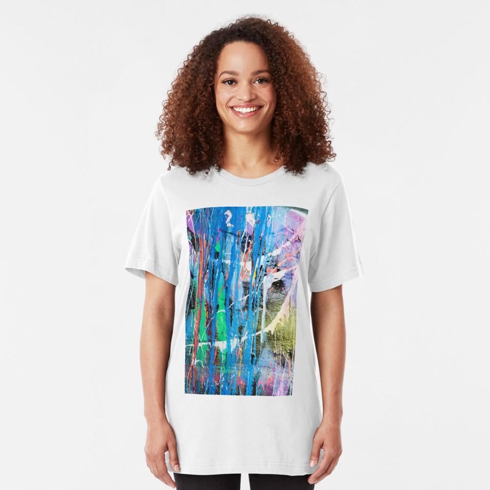 Dripping paint graffiti wall Slim Fit T-Shirt