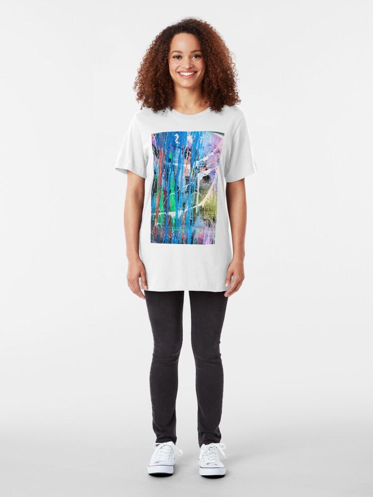 Alternate view of Dripping paint graffiti wall Slim Fit T-Shirt