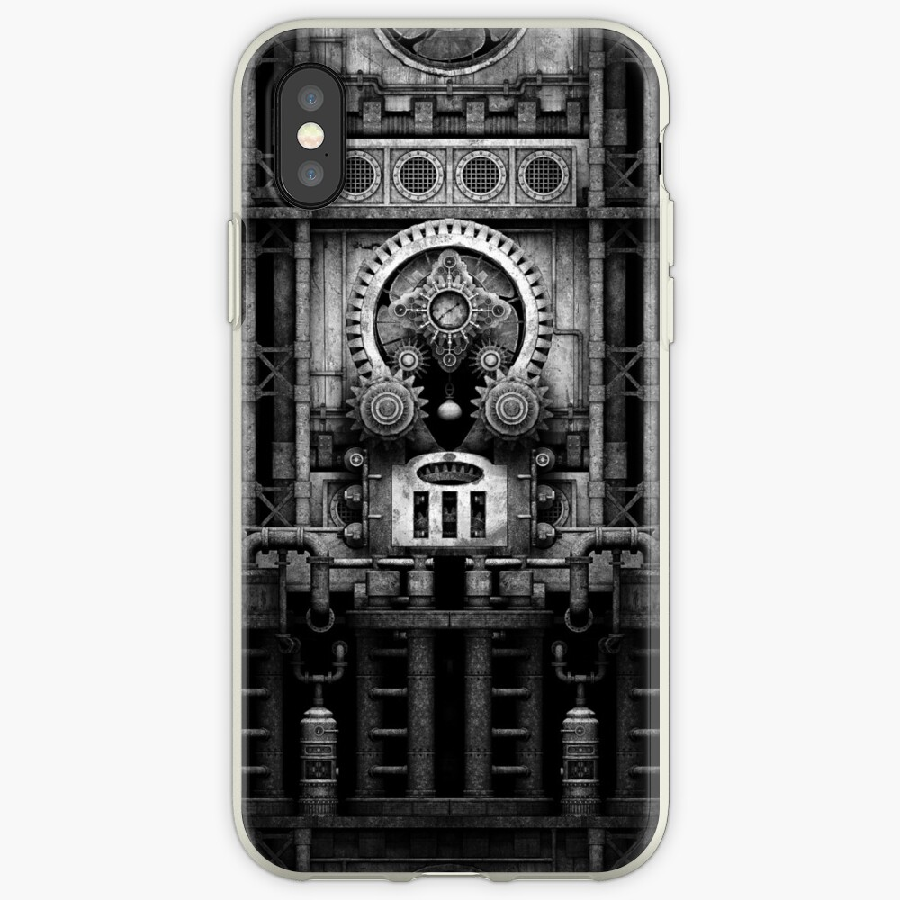 Infernal Steampunk Vintage Machine #3 Monochrome iPhone Case & Cover